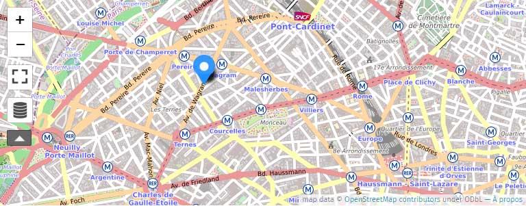 Centre Ternes Monceau Paris 17e - plan d'accès